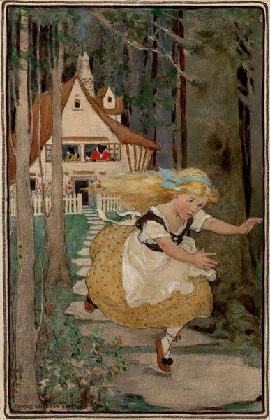 Goldilocks fleeing Bears house